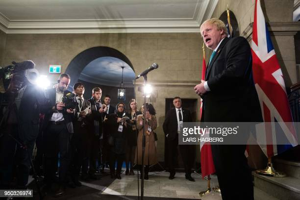 British Foreign Secretary Boris Johnson holds media availability during the G7 Foreign Minister meeting in Toronto Ontario on April 23 2018 The Group...