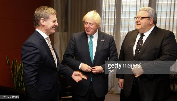 British Foreign Secretary Boris Johnson is greeted by New Zealand Prime Minister Bill English and Minister of Foreign Affairs Gerry Brownlee at...