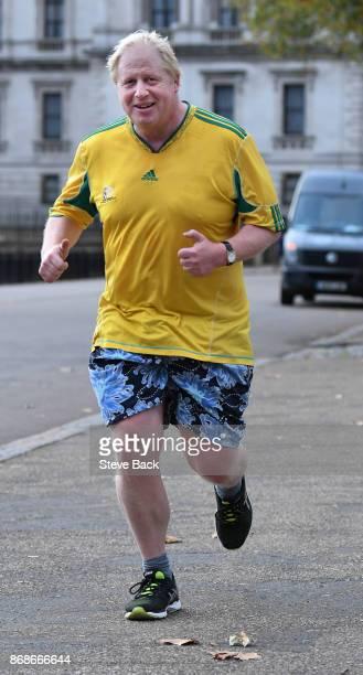 British Foreign Secretary Boris Johnson jogging in Westminster October 31 2017 in London England