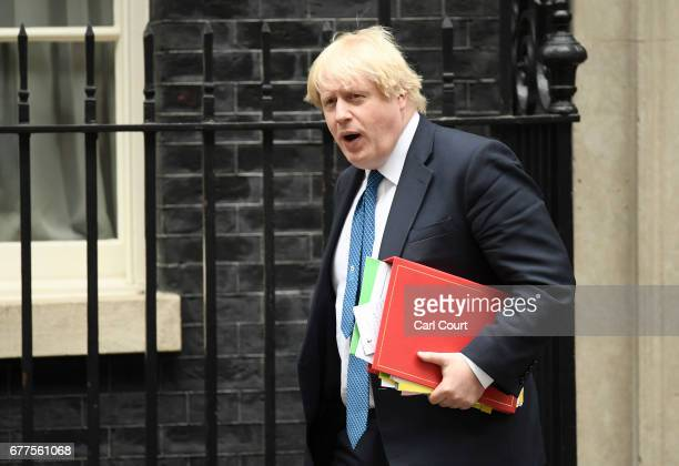 British Foreign Secretary Boris Johnson leaves 10 Downing Street on May 3 2017 in London England Prime Minister Theresa May will visit The Queen at...