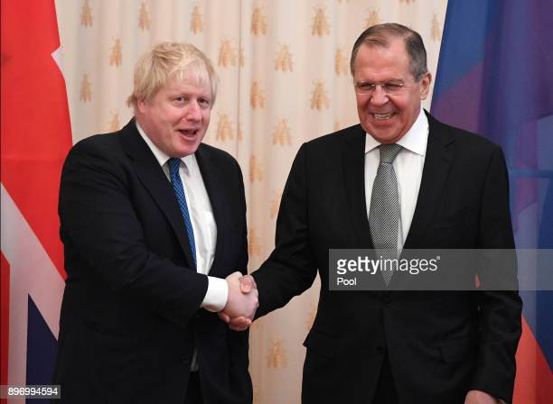 British Foreign Secretary Boris Johnson meets his Russian counterpart Sergei Lavrov on December 22 2017 in Moscow Russia Boris Johnson's visit to...