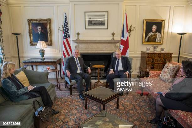 British Foreign Secretary Boris Johnson meets his US counterpart Rex Tillerson at Mr Johnson's grace and favour home in central London on January 22...