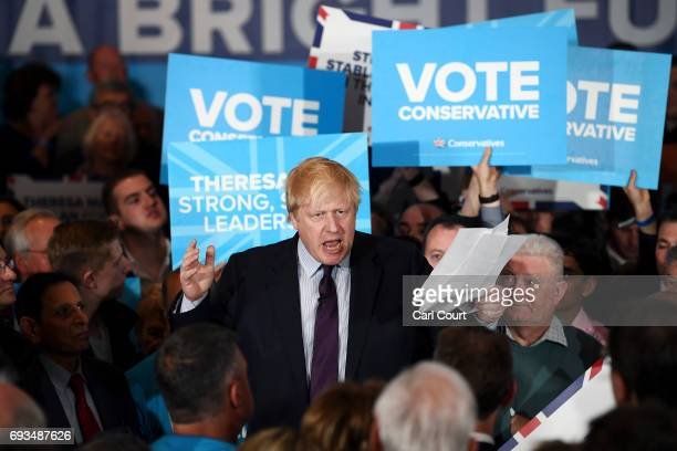 British Foreign Secretary Boris Johnson speaks ahead of Prime Minister Theresa May during her last campaign visit at the National Conference Centre...