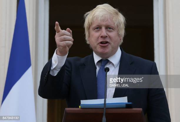 British Foreign Secretary Boris Johnson speaks as he attends a reception at the French Ambassador's residence in west London on July 14 2016...