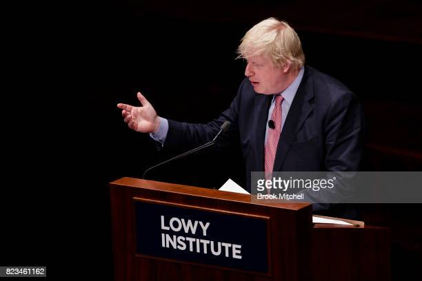 British foreign secretary Boris Johnson speaks during an event hosted by the Lowy Institute for International Policy at Sydney Town Hall on July 27...