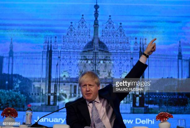 British Foreign Secretary Boris Johnson speaks during the second day of the Raisina Dialogue conference in New Delhi on January 18 2017 / AFP /...