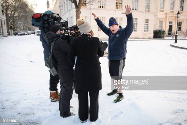 British Foreign Secretary Boris Johnson speaks to the media after jogging through St James Park on February 28 2018 in London England A letter from...