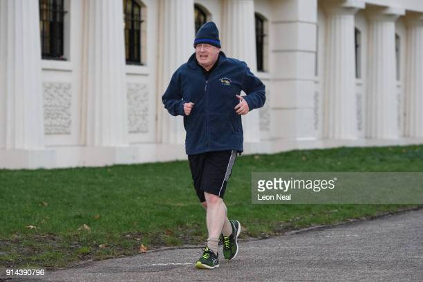 British Foreign Secretary Boris Johnson takes an early morning jog on February 5 2018 in London England Following claims of disunity within the...