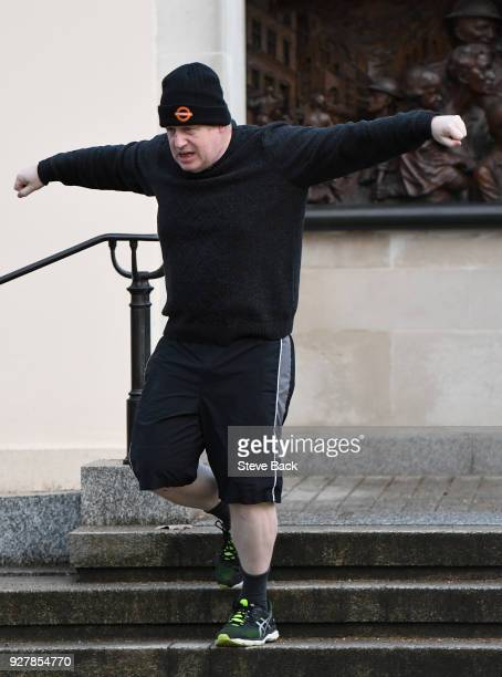 British Foreign Secretary Boris Johnson takes an early morning jog on March 06 2018 in London England