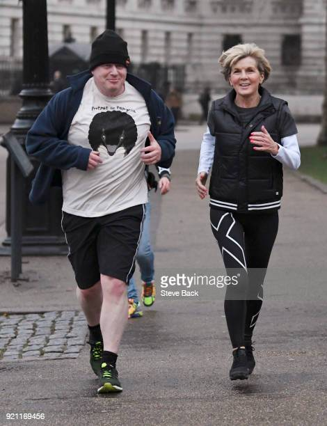 British Foreign Secretary Boris Johnson takes an early morning jog with his Australian counterpart Foreign Minister Julie Bishop on February 20 2018...