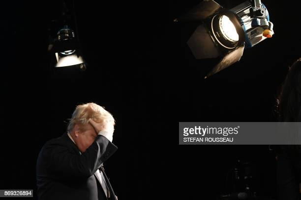 TOPSHOT British Foreign Secretary Boris Johnson visits the London College of Communication in London to mark 'International Day to End Impunity for...