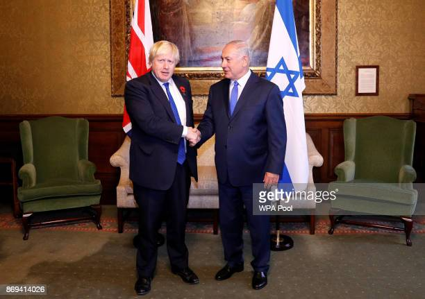 British Foreign Secretary Boris Jonhson meets Israeli Prime Minister Benjamin Netanyahu at the Foreign Office on November 2 2017 in London United...