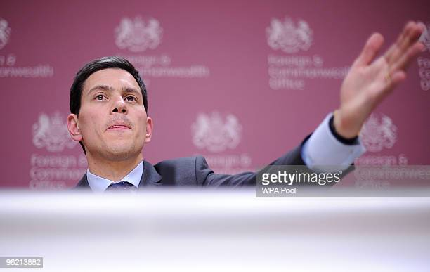 British Foreign Secretary David Miliband addresses a press conference with US Secretary of State Hillary Clinton and Yemen's Foreign Minister Abu...