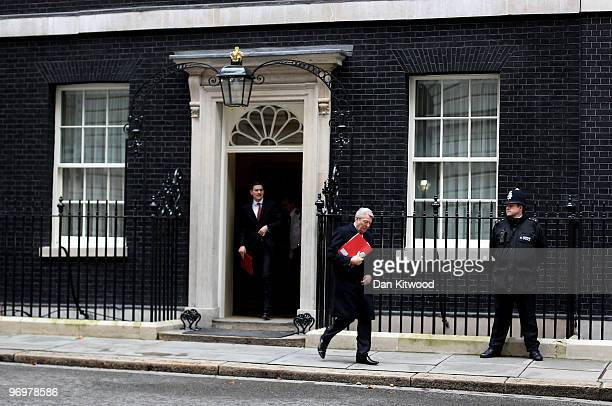British Foreign Secretary David Miliband and Home Secretary Alan Johnson leaves Number 10 Downing Street after the weekly Cabinet meeting on February...