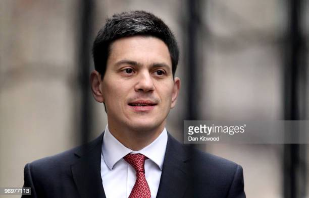 British Foreign Secretary David Miliband arrives for the weekly cabinet meeting at Downing Street on February 23 2010 in London England According to...