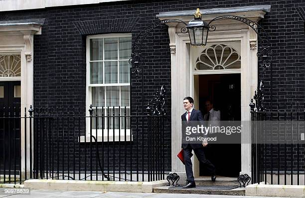 British Foreign Secretary David Miliband leaves Number 10 Downing Street after the weekly Cabinet meeting on February 23 2010 in London England...