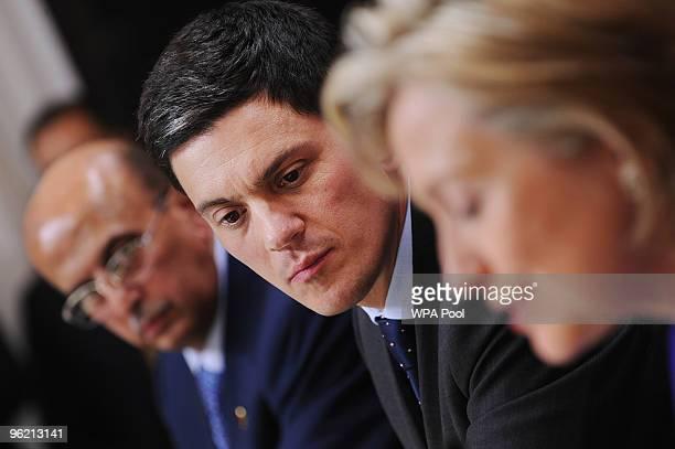 British Foreign Secretary David Miliband Yemen's Foreign Minister Abu Bakr alQirbi and US Secretary of State Hillary Clinton address a press...