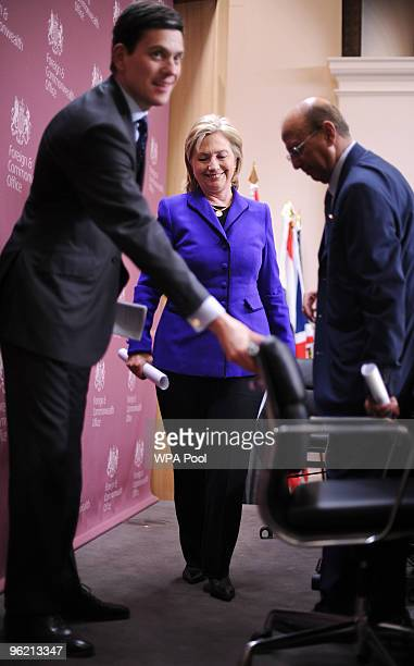 British Foreign Secretary David Miliband Yemen's Foreign Minister Abu Bakr alQirbi and US Secretary of State Hillary Clinton leave after addressing a...