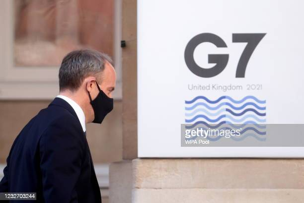 British Foreign Secretary Dominic Raab arrives for the G7 Foreign and Development Ministers at Lancaster House on May 5, 2021 in London, England....