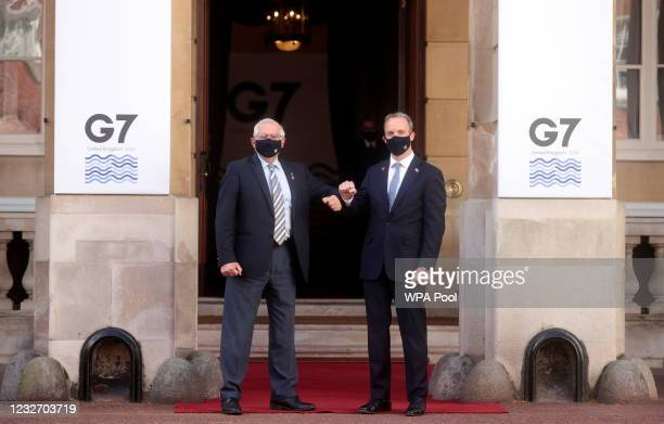 British Foreign Secretary Dominic Raab greets his EU counterpart Josep Borrell ahead of the G7 Foreign and Development Ministers at Lancaster House...