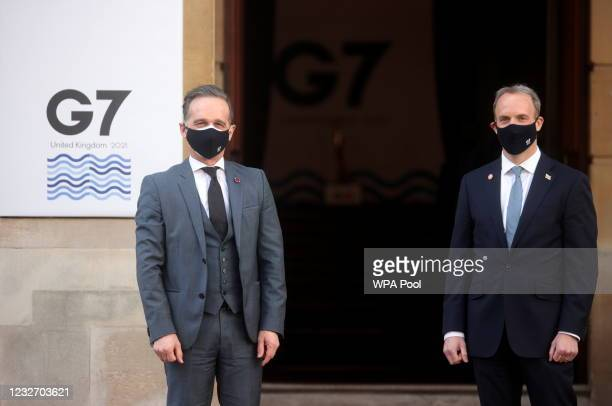 British Foreign Secretary Dominic Raab greets his German counterpart Heiko Maas ahead of the G7 Foreign and Development Ministers at Lancaster House...