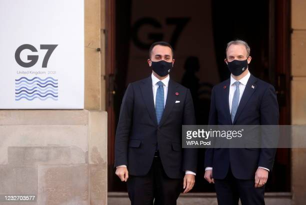 British Foreign Secretary Dominic Raab greets his Italian counterpart Luigi Di Maio ahead of the G7 Foreign and Development Ministers at Lancaster...