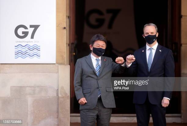 British Foreign Secretary Dominic Raab greets his Japanese counterpart Toshimitsu Motegi ahead of the G7 Foreign and Development Ministers at...