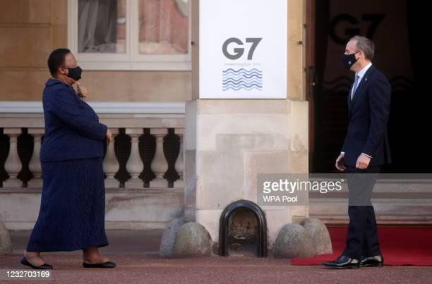 British Foreign Secretary Dominic Raab greets his South African counterpart Naledi Pandor ahead of the G7 Foreign and Development Ministers at...