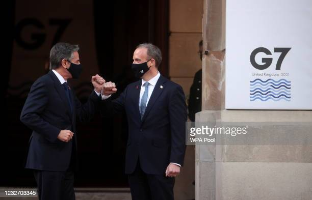 British Foreign Secretary Dominic Raab greets his U.S. Counterpart Antony Blinken ahead of the G7 Foreign and Development Ministers at Lancaster...