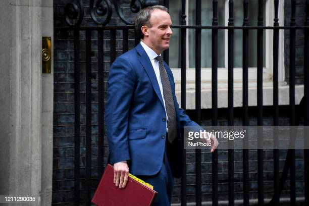 British Foreign Secretary Dominic Raab leaves 10 Downing Street on April 29 2020 in London England Britain on Tuesday said it would extend reporting...