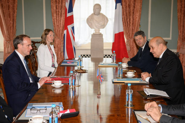 GBR: British Foreign Minister Dominic Raab Meets French Foreign Minister Jean-Yves Le Drian
