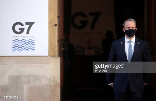 British Foreign Secretary Dominic Raab waits for the arrivals of his counterparts ahead of the G7 Foreign and Development Ministers at Lancaster...