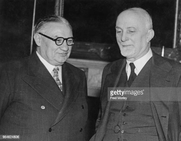 British Foreign Secretary Ernest Bevin meets Italian Foreign Minister Count Carlo Sforza at the Foreign Office in London 28th October 1947