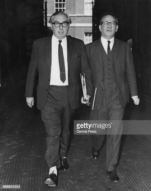 British Foreign Secretary George Brown and Fred Mulley Minister of State at the Foreign Office on their way back to the Foreign Office after a...