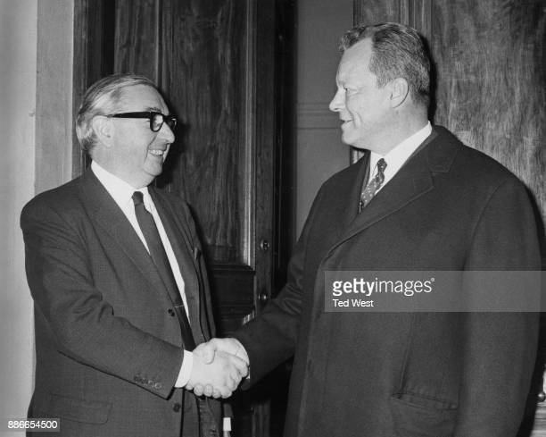 British Foreign Secretary George Brown greets Willy Brandt the West German Foreign Minister upon his arrival in London for talks 12th April 1967