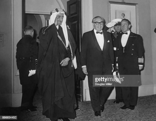 British Foreign Secretary George Brown hosts a dinner for King Faisal of Saudi Arabia at the Royal Naval College in Greenwich London 10th May 1967...