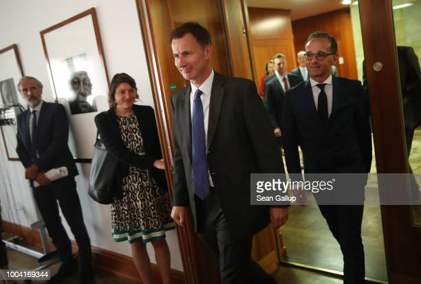 British Foreign Secretary Jeremy Hunt and German Foreign Minister Heiko Maas arrive to address the media at the Foreign Ministry on July 23 2018 in...