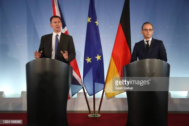 British Foreign Secretary Jeremy Hunt and German Foreign Minister Heiko Maas speak to the media at the Foreign Ministry on July 23 2018 in Berlin...