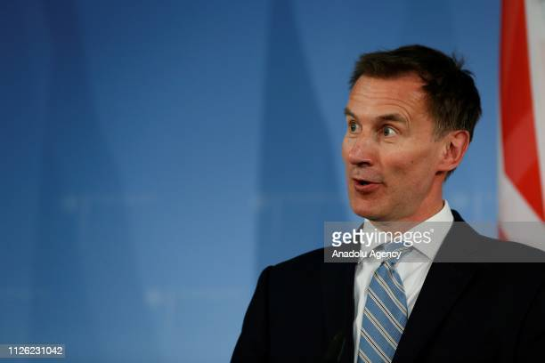 British Foreign Secretary Jeremy Hunt and German Foreign Minister Heiko Maas hold a joint press conference in Berlin Germany on February 20 2019