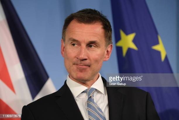 British Foreign Secretary Jeremy Hunt and German Foreign Minister Heiko Maas speak to the media following talks on February 20 2019 in Berlin Germany...