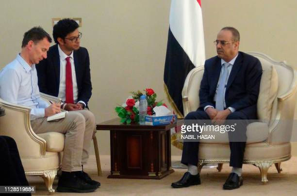 British Foreign Secretary Jeremy Hunt and the senior media advisor for the UK embassy in the UAE Elamir Osman meet with Ahmed AlMaysari Yemen's...