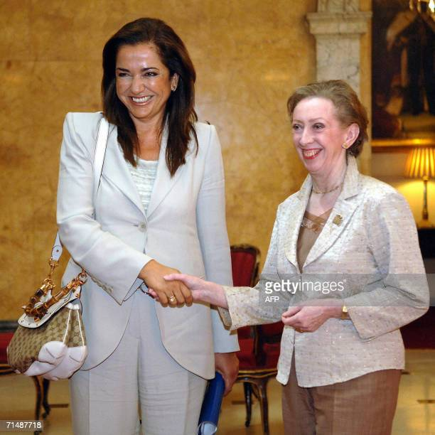 British Foreign Secretary Margaret Beckett shakes hands with her Greek counterpart Dora Bakoyannis 20 July 2006 prior to discussing the current...
