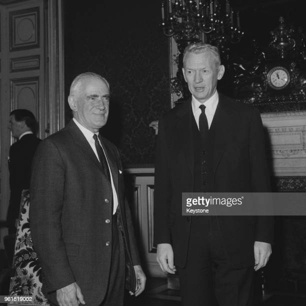 British Foreign Secretary Michael Stewart meets Maurice Couve de Murville the French Foreign Minister in Paris France 2nd April 1965 Stewart is...