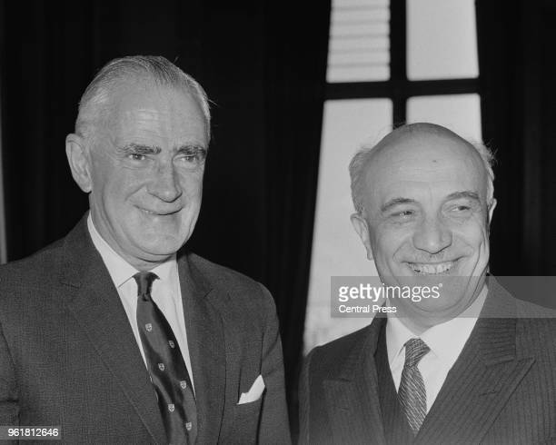 British Foreign Secretary Michael Stewart with Amintore Fanfani the Italian Foreign Minister at the Foreign Office in London 7th May 1966 Fanfani...