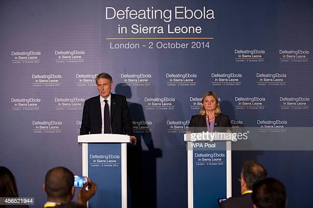 British Foreign Secretary Philip Hammond and British International Development Secretary Justine Greening speak at the Defeating Ebola Sierra Leone...