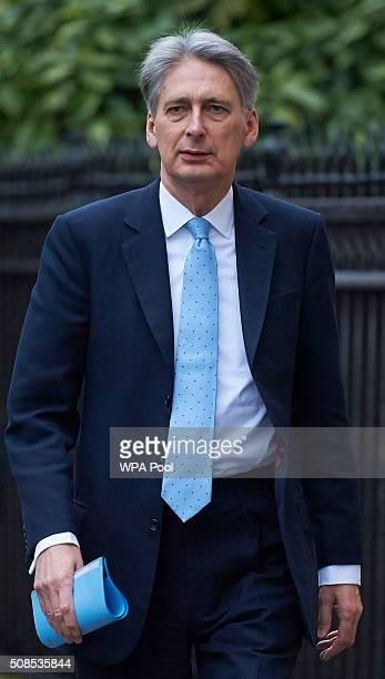 British Foreign Secretary Philip Hammond arrives at Carlton Gardens on February 5 2016 in London United Kingdom