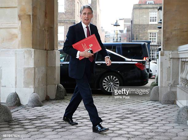 British Foreign Secretary Philip Hammond arrives for a meeting with coalition members to discuss the threat of Islamic State at Lancaster House on...