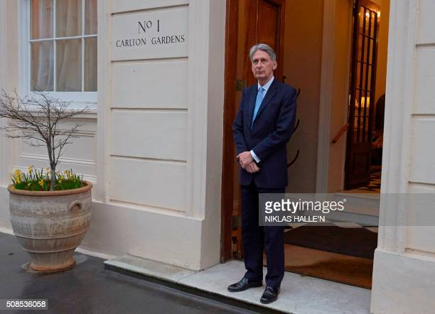 British Foreign Secretary Philip Hammond is pictured outside Carlton Gardens in central London on February 5, 2016. - A UN panel said Friday that...