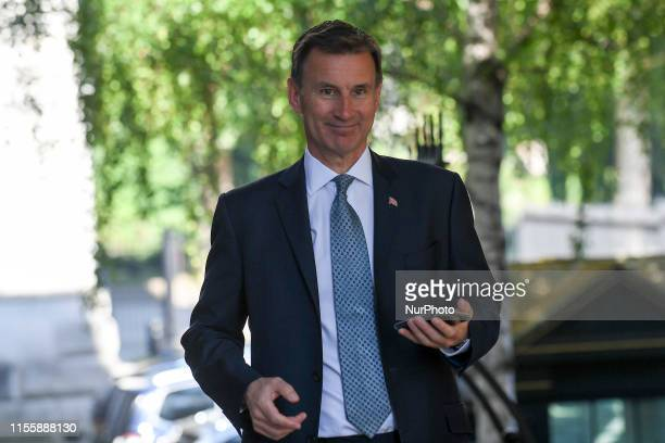 British Foreign Secretary Secretary and Conservative Party leadership running candidate, Jeremy Hunt arrives at 10 Downing Street for weekly Cabinet...