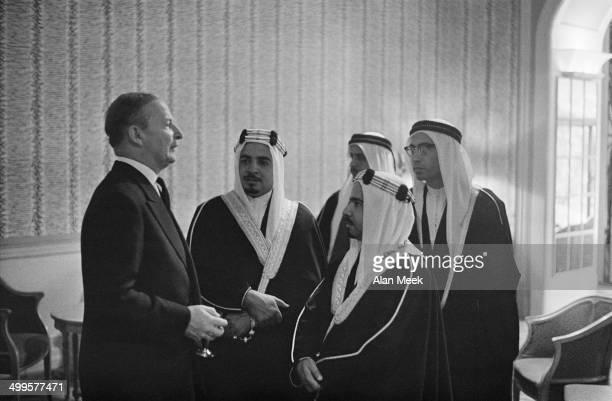 British Foreign Secretary Selwyn Lloyd at a reception for Sheikh Isa bin Salman Al Khalifa heir apparent to the Emir of Bahrain in the River Room at...